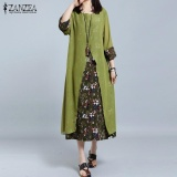 Low Cost Zanzea Women Retro Floral Print Splice Loose Casual Long Shirt Dress Summer Ladies 3 4 Sleeve Vestido Kaftan Plus Size M 5Xl Green Intl