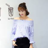 Price Comparison For Zanzea Women S*Xy Off Shoulder Top Long Sleeve Stripe Shirt Casual Loose Summer Blouse Blue