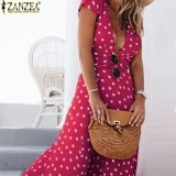 Best Zanzea Women Short Sleeve Long Maxi Dress Deep V Polka Dot Evening Party Dress Red Intl