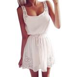 Cheapest Zanzea Women Sleeveless Chiffon Deep Boat Neck Mini Dress White Online