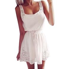 Zanzea Women Sleeveless Chiffon Deep Boat Neck Mini Dress White Zanzea Cheap On China