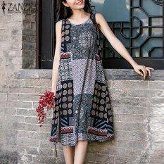 Purchase Zanzea Women Sleeveless Round Neck Vintage Floral Print Split Summer Party Short Mini Dress Kaftan Long Shirt Dress M 5Xl(Navy) Intl