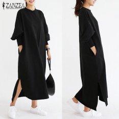 ZANZEA Women Striped Dress Long Batwing Sleeve O-Neck Casual Loose Split Maxi Long Dress