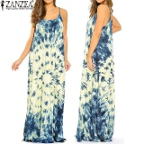 Buy Cheap Zanzea Women Summer S*xy Spaghetti Low Cut Strap Dyeing Print Backless Beach Maxi Dress Off White Intl