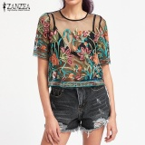 For Sale Zanzea Women Tops Summer Floral Embroidery Blouses S*xy Mesh See Through Shirts Short Sleeve Blusas Black Intl