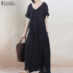 Price Zanzea Women Vintage Casual Loose Solid Long Maxi Dresses Short Sleeve O Neck Cotton Vestidos Plus Size Black Intl Oem Original