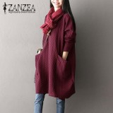 Price Compare Zanzea Women Winter Retro O Neck Long Sleeve Big Pockets Casual Solid Party Autumn Loose Basic Vestido Oversized Baggy Dress Wine Red Intl