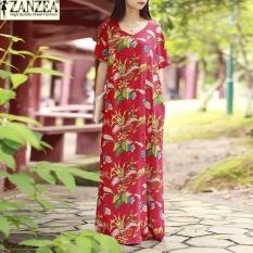 Zanzea Women S Short Sleeve V Neck Loose Vintage Full Length Shirt Dress Kaftan Red Intl Lower Price