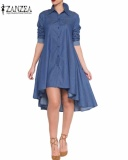 Get Cheap Zanzea Women S Stand Up Collar Lapel Botton Up Long Sleeve Demin Hi Lo A Line Swing Tunic Dress Blue Intl