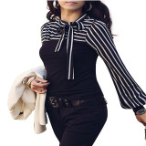 Buy Zanzea Women S Stripe Polo Neck Puff Long Sleeve Tops Black Zanzea Original