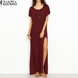 New Zanzea Womens Summer Crew Neck Short Sleeve Casual Party Split Maxi Long Dress Kaftan Beach Solid Vestido Plus Size Wine Red Intl