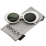 List Price Zerouv White Bold Retro Oval Mod Thick Frame Sunglasses Clout Goggles With Round Colored Lens 51Mm White Green Intl Zerouv