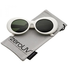 Compare Price Zerouv White Bold Retro Oval Mod Thick Frame Sunglasses Clout Goggles With Round Colored Lens 51Mm White Green Intl On South Korea