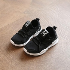 New Zh Boy Sneaker Baby Soft Sole Shoes Net White Shoe And White Shoes Black Intl