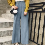 Zh Lady Chiffon A Pleated Slacks With High Waists And High Waists And Slacks Of Baggy Slacks Blue Intl Deal