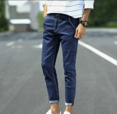 Recent Zh Men S Fashion All Match Handsome Breathable Jeans Blue Intl