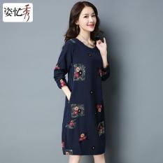 Zi Yixiu Spring Base Skirt Long Sleeve Dress Dark Blue Color Lower Price