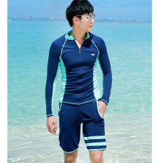 Price Comparison For Zip Sunscreen Jellyfish Men And Women Swim Clothing Quick Drying Clothes Elegant Blue Men S Two Piece Sets