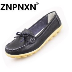 Sale Znpnxn Fashion Bow Knot Flat Bottom Casual Mother Shoes Leather Slip Soles Peas Shoes Women(Black) Intl Znpnxn Branded