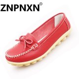 Low Price Znpnxn Fashion Bow Knot Flat Bottom Casual Mother Shoes Leather Slip Soles Peas Shoes Women(Burgundy) Intl
