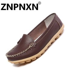 Znpnxn Fashion Leather Casual Shoes Shallow Mouth Flat Nurse Little White Shoes Female Anti Skid Shoes(Brown) Intl Lower Price