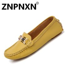 Price Znpnxn Fashion New Leather Casual Flat Peas Shoes Non Slip Soft Female Driver Shoes Tide(Yellow) Intl Znpnxn Original