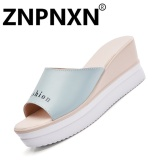 Cheap Znpnxn Fashion Summer Wedge Sandals With Fashionable Women S Sandals Casual Shoes Slides Mules Shoes Blue) Intl