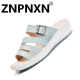 Compare Prices For Znpnxn Leather Women Casual Sandals Soft Bottom Non Slip Fashion Women S Sandals Blue) Intl