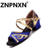 Znpnxn Low Heeled Girls Latin Dancing Shoes Children S Dance Shoes Female Latin Shoes Blue Intl Discount Code
