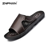 Znpnxn Men S Shoes Korean Style Casual Slippers Men S Leather Slippers Loafers Sandals Summer Beach Shoes Size 38 46 Yards Brown Intl Promo Code