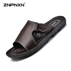 Buy Znpnxn Men S Shoes Korean Style Casual Slippers Men S Leather Slippers Loafers Sandals Summer Beach Shoes Size 38 46 Yards Brown Intl