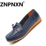 Cheapest Znpnxn Women S Leather Flat Shoes Soft Bottom Non Slip Women S Mocassins Loafers Blue Intl