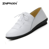Get Cheap Znpnxn Women S Shoes Leather Shoes Single Shoes White Shoes Big Size Shoes Stylish Soft Comfortable Lace Up Single Shoes Size 35 40 Yards White Intl