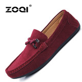 Zoqi Man S Slip Ons Loafers Fashion Cow Suede Leather Shoes Red Intl For Sale