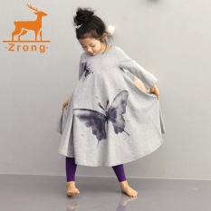 Great Deal Zrong Children Clothing Girls Beach Dress Cotton Butterfly Print Long Design T Shirt Full Flared Skirt 2 10Y Grey Intl