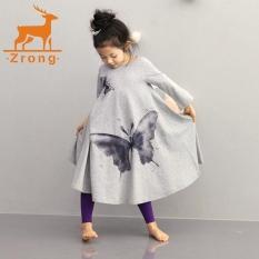 Retail Price Zrong Children Clothing Girls Beach Dress Cotton Butterfly Print Long Design T Shirt Full Flared Skirt 2 10Y Grey Intl