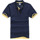 Buy Cheap Zuncle Men S Polo Shirt Short Sleeve Golf Tennis Shirt Navy Blue Yellow