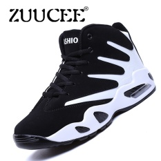 Top Rated Zuucee Men Winter High Top Basketball Shoes Air Causion Sports Sneakers White Black Intl