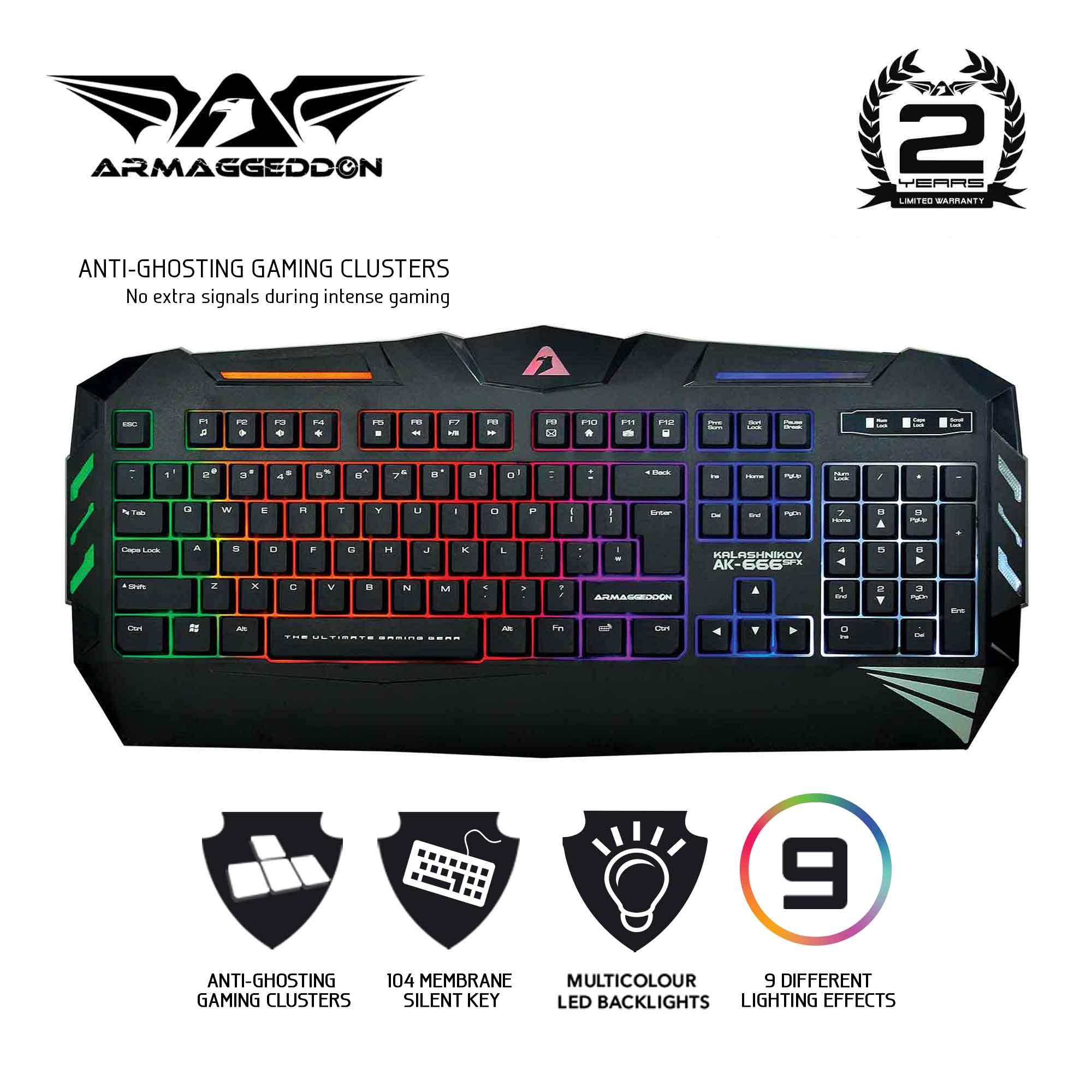 Armaggeddon Kalashnikov AK-666 SFX Anti-Ghosting And Spill Proof Gaming Keyboard - 9 Lighting Effect Singapore