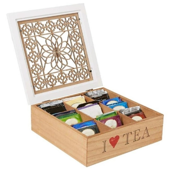 Wooden Storage Box 9 Grid Tea Coffee Storage Box Kitchen Skylight Hollow Food Candy Tea Container Storage Organizer