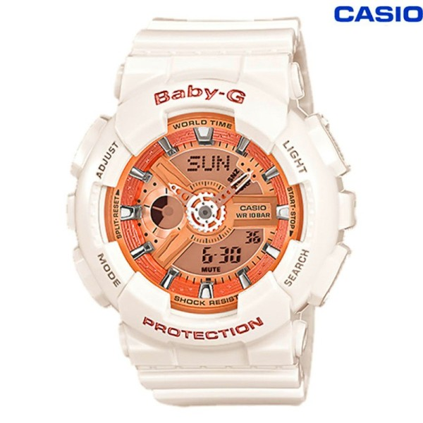 [In stock] Original BABY G Layered 3D Metallic Face Womens White Resin Strap Watch In stock-7A1 BA-110-7A1 Malaysia