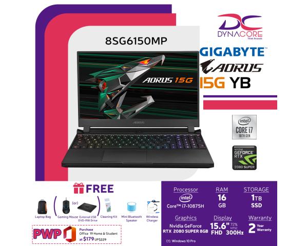 DYNACORE - GIGABYTE AORUS 15G YB i7 - 8SG2150MP (i7-10875H/16GB DDR4 2933 (8GBx2)/GeForce RTX 2080 Super GDDR6 8GB Max-Q/512GB M.2 PCIE SSD/15.6inch Thin Bezel 300Hz FHD IGZO Display/WINDOWS 10 PRO)
