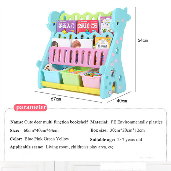 [SG SELLER] ChildrenS Fawn Bookshelf Easy Landing Kids Cartoon Toys Storage Rack/ Toy Organizer/ChildrenS Book Cabinet Toy Storage Box