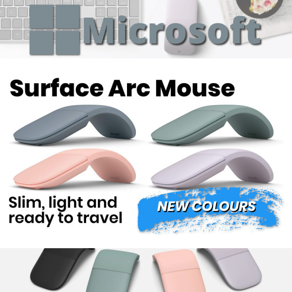 [Pre-Order] Microsoft Surface Arc Bluetooth Mouse Poppy Sage Pink Lilac Blue Black Red Platinum | Ships Next Day or within 14 Days