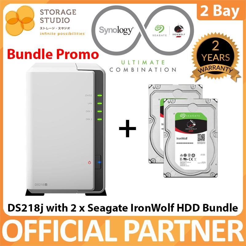 SYNOLOGY NAS DS218j 2 BAY NAS (2 x Seagate Ironwolf HDD Bundle Series)   Warranty: 2 years  Local Warranty  ** SYNOLOGY Official Partner**