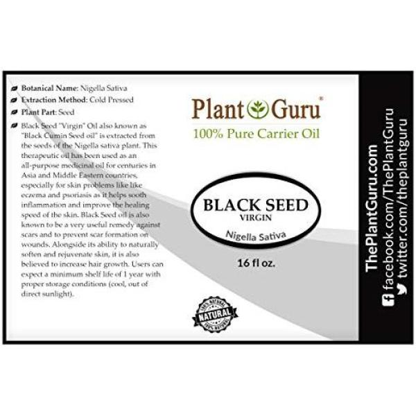 Buy Plant Guru Black Seed Oil 16 oz Virgin, Unrefined Cold Pressed Cumin 100% Pure Natural - Skin, Body and Hair. Great For Eczema Singapore