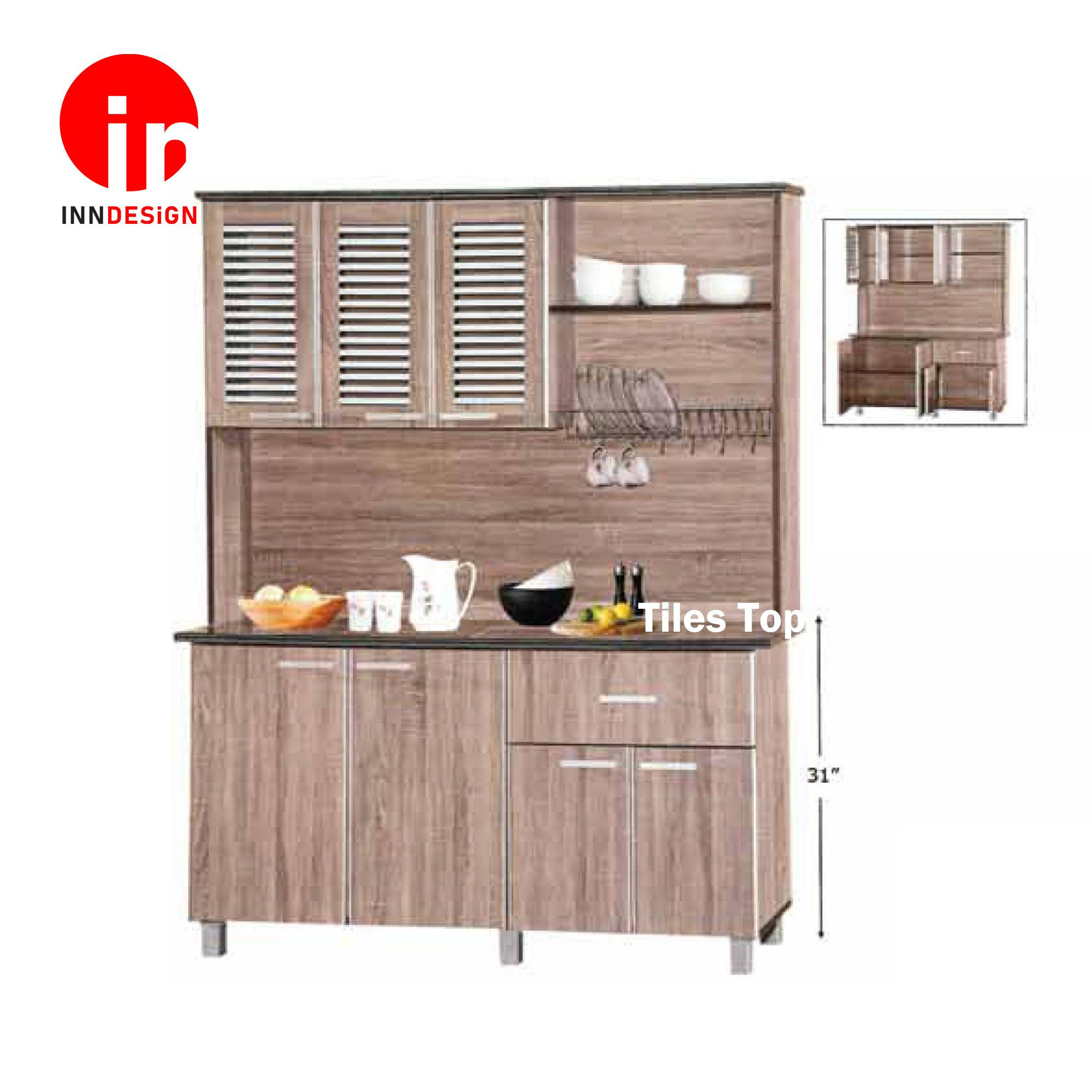 Cassiva 4 Doors Kitchen Cabinet With Top (Free Delivery and Installation) (Dark Oak)