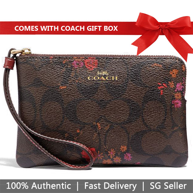 Coach Wristlet In Gift Box Small Wristlet Corner Zip Wristlet In Signature Canvas With Floral Bundle Print Brown / Metallic Currant # F39070
