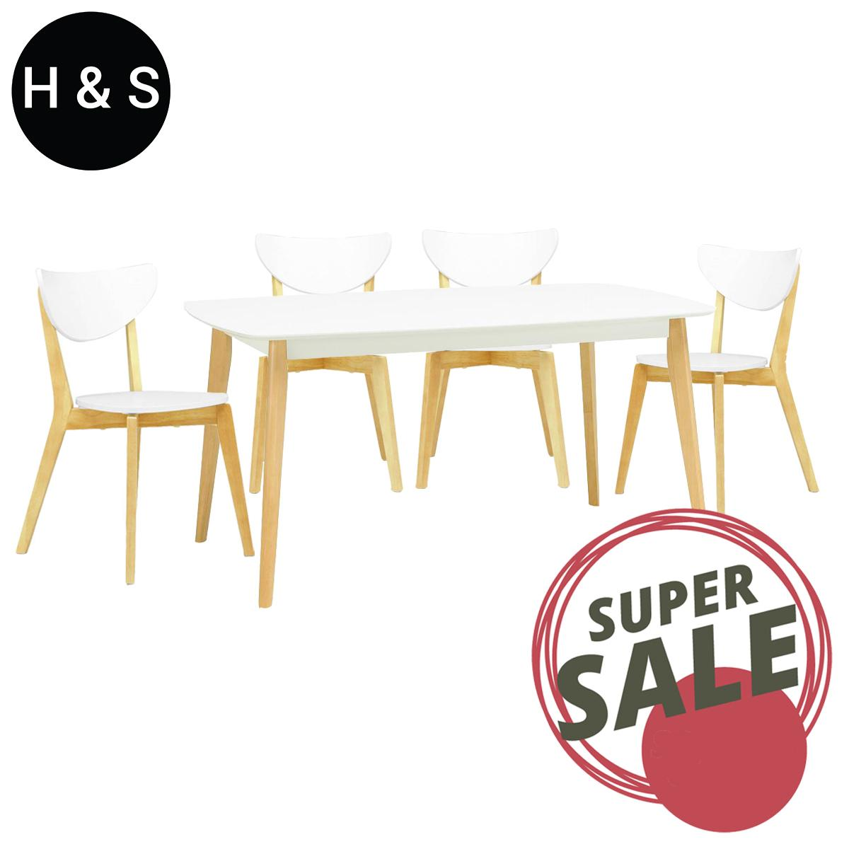 Arthur 1.5m Dining Table + 4 Dining Chair. (1+4) Quality Dining Set