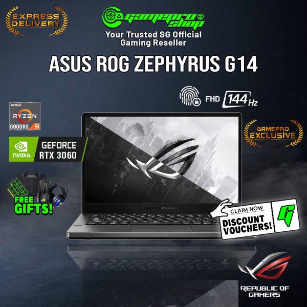 [Express Delivery][EXCLUSIVE] ASUS ROG Zephyrus G14 2021 GA401QM-HZ203T Gaming Laptop (Ryzen 9 5900HS/16GB/512GB SSD/RTX 3060/14 FHD 144hz/W10/2Y)